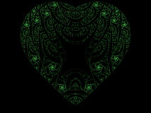 Green fractal heart. A green fractal heart with intricate swirling patterns inside, set on a black background Stock Photo