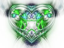 Green fractal heart Royalty Free Stock Images