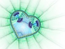 Green fractal heart. Valentine`s day motive, digital artwork for creative graphic design Royalty Free Stock Photos