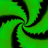 Green Fractal that Looks Like Dragon Tails. A green and black fractal that looks like dragon tails in a circle Stock Images