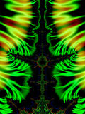 Green  Fractals Swirls. A rich and colorful spiral swirls fractal collage / digital art creation Stock Photo