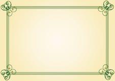 Green frame. Old restored frame for diploma or certificate Stock Image