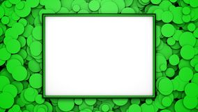 Green frame on background with green circles. Graphic illustration with free space for design or text. 3D rendering. Digital illustration with free space in Royalty Free Stock Images