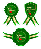 Green frame christmas. Christmas tree with ribbons of green tags Royalty Free Illustration