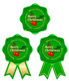 Green frame christmas. Christmas tree with ribbons of green tags Royalty Free Stock Photo