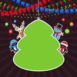Green frame with Christmas characters Royalty Free Stock Images
