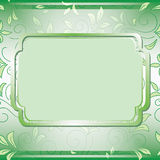 Green frame on floral background - vector Stock Images