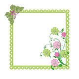 Green Frame with Flowers Stock Images