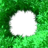 Green frame of foliage leaf fur flying in the space and have a copyspace for your text. Can be used as a decorative greeting grung Stock Image