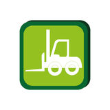 Green frame with forklift truck with forks Stock Images