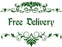 Green frame with FREE DELIVERY text. stock illustration