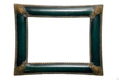 Green Frame, Gold Trim. A green frame with gold accents at the corners and rope trim on edges Stock Photography