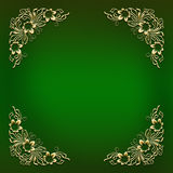 Green frame with golden floral corner ornament Royalty Free Stock Image