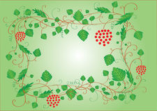 Green frame with leaves and berries Stock Photo