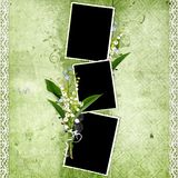 Green frame with lily of the valley Stock Photography