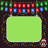 Green frame and pennant flags with Merry Christmas Royalty Free Stock Photography
