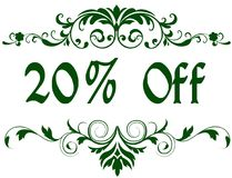Green frame with 20 PERCENT OFF text. Illustration image concept vector illustration