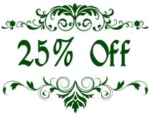 Green frame with 25 PERCENT OFF text. Illustration image concept Royalty Free Stock Photo