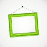 Green frame for photography hang at wall Royalty Free Stock Image