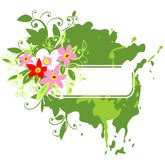 Green frame and pink flowers. White frame on a green grunge background with pink flowers Stock Photo