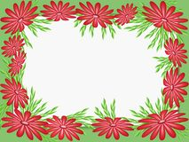Red abstract flowers on a green frame. Stock Photos