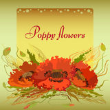 Yellow frame with red poppy flowers and spike lets of wheat. Vector green and yellow frame with red poppy flowers and spike lets of wheat. Greeting card Royalty Free Stock Photos