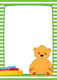 Green frame teddy and markers. Vector frame with green and white stripes. Brown teddy bear and three color markers. Place for text on a white background Stock Photos