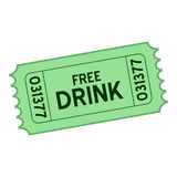 Green Free Drink Ticket Flat Icon on White. Green free drink ticket flat icon, isolated on white background. Eps file available Royalty Free Stock Photos