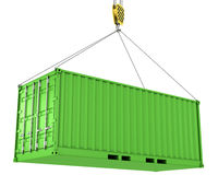 Green freight container hoisted Royalty Free Stock Image