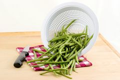 Green french beans. Washed fresh french beans tumbling from colander with knife and checkered napkin royalty free stock photography