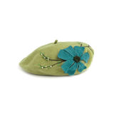 Green french beret made from felt Stock Photography