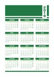 Green 2019 French calendar. Vector illustration with blank space for your contents. All elements sorted and grouped in layers for easy edition. Printable royalty free illustration