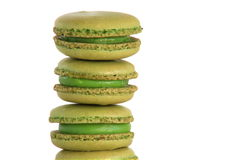 Green French Macaron cookies Royalty Free Stock Images