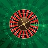 Green french wheel. French roulette wheel on green grunge background Royalty Free Stock Photo