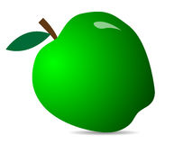 Green fresh apple. Illustration of an apple icon. Green apple with leaf. Vector illustration stock illustration
