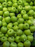 Green fresh apples on the market royalty free stock images