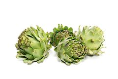 Green, fresh artichokes close-up. The green, fresh artichokes in the kitchen on a white background close-up Stock Photos
