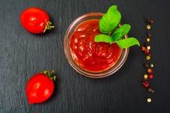 Green Fresh Basil with Tomato Sause and Ketchup stock photo
