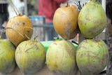 Green fresh coconuts. In their husks Stock Images