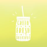 Green, fresh, delicious. Mason jar with hand drawn. Text. Vector hand drawn illustration Royalty Free Stock Images