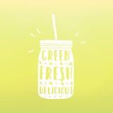 Green, fresh, delicious. Mason jar with hand drawn. Text. Vector hand drawn illustration royalty free illustration