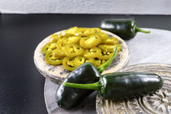 Green fresh and delicious sliced pickled jalapenos Stock Photography