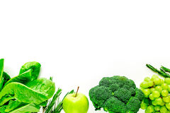 Green fresh food for fitness diet on white table background top view space for text Royalty Free Stock Photo