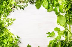 Green fresh herbs mix on white wooden background. Top view royalty free stock photos