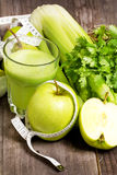 Green fresh juice with apple, celery and coriander Stock Photography