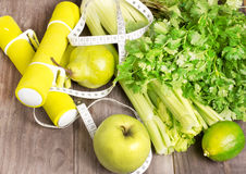 Green fresh juice with apple, celery and coriander Stock Photo
