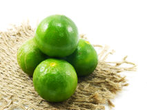 Green fresh lime and tablecloth on white background Royalty Free Stock Photo