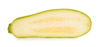 Green fresh organic half of zucchini isolated on white background Royalty Free Stock Photos