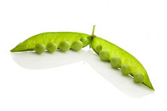 Green fresh pea over white. Royalty Free Stock Photos