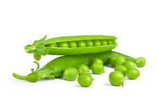 Green fresh peas in pods. On white background Royalty Free Stock Images